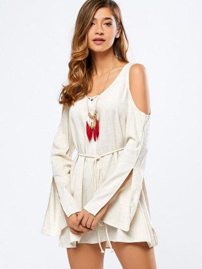 Cold Shoulder Split Sleeve Dress - Off-white
