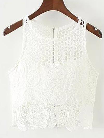 Crochet Flower Padded Crop Top - White