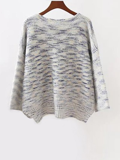 Marled Oversized Sweater - GRAY ONE SIZE Mobile