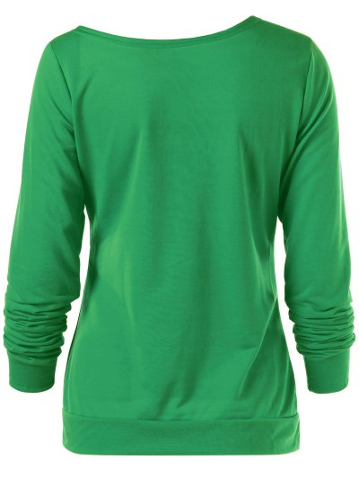 Merry Christmas Snowflake Print Sweatshirt - GREEN L Mobile