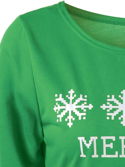 Merry Christmas Snowflake Print Sweatshirt - GREEN M Mobile