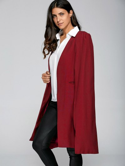 Loose Cape Cloak Overcoat - RED L Mobile
