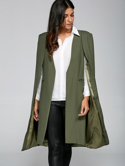Loose Cape Cloak Overcoat - ARMY GREEN M Mobile