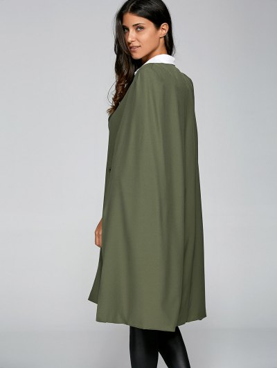 Loose Cape Cloak Overcoat - ARMY GREEN XS Mobile