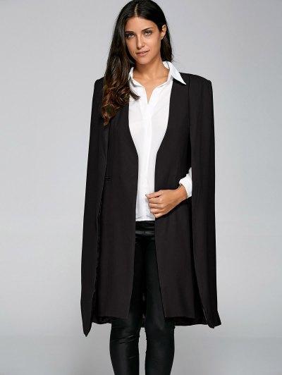 Loose Cape Cloak Overcoat - BLACK M Mobile