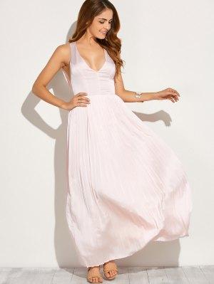 Cut Out Low Cut Maxi Dress - Pink