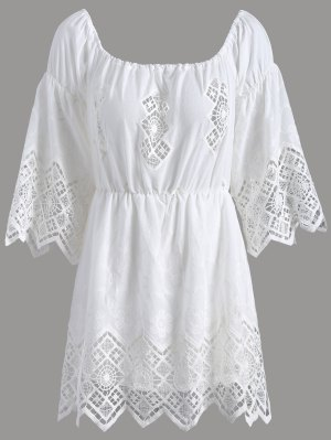 Lace Off The Shoulder Romper - White