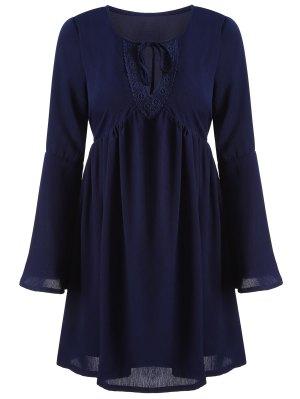 Cut Out A-Line Dress - Cadetblue