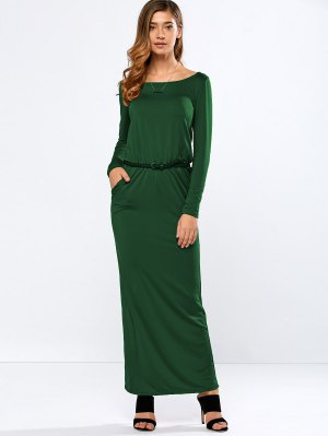 Maxi Belted Dress - Green