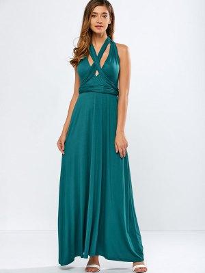Convertible Backless Formal Maxi Dress - Blackish Green