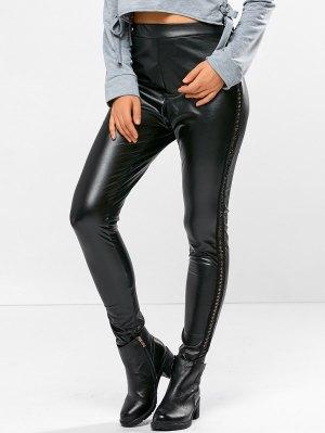 PU Leather Openwork Leggings - Black