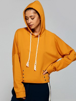 Lace Up Pullover Hoodie - Yellow