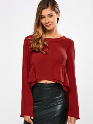 Long Sleeve Frilly Crop Top - Red