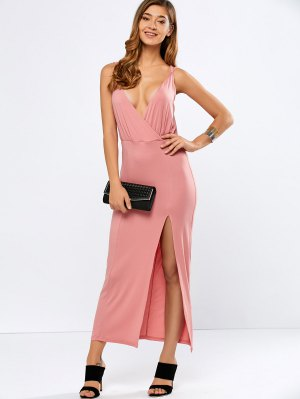 High Slit Strappy Low Cut Maxi Dress - Pink