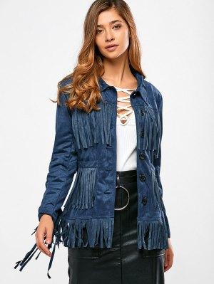 Fringed Faux Suede Jacket - Purplish Blue