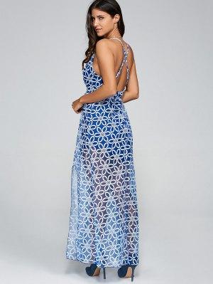 Plunging Neck Criss Back Slit Maxi Dress - Blue