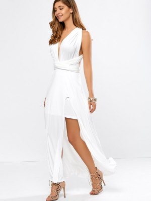 Convertible High Slit White Evening Dress - White