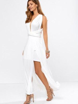 Convertible High Slit White Evening Dress - White