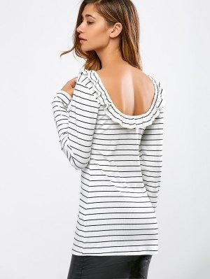 Striped Ruffles Backless T-Shirt - White