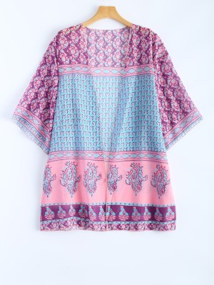 Printed Bohemian Beach Cover Up - Shallow Pink