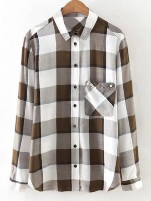Checked Patch Pocket Shirt - White