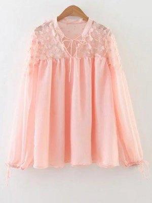 Flower Appliqued Blouse - Pink
