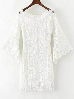 Bell Sleeve Crochet Bodycon Dress - White