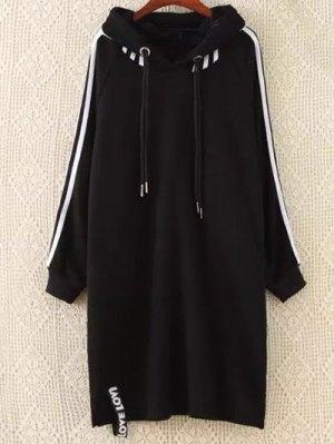 Plus Size Tape Sleeve Hoodie Dress - Black