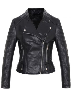 Faux Leather Rib Trim Biker Jacket - Black