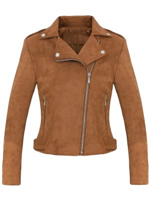 Cropped Faux Suede Biker Jacket - Brown