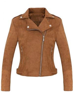 Cropped Faux Suede Biker Jacket - Brown