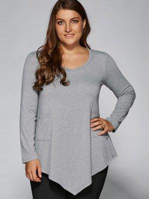 Plus Size Asymmetric One Pocket Blouse - Light Gray