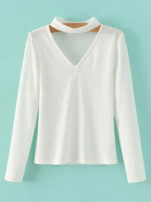 Cutout V Neck Choker Jumper - White