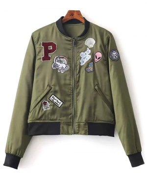 Quilted Patched Bomber Jacket - Green
