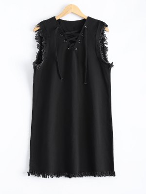 Lace-Up Fringed Dress - Black