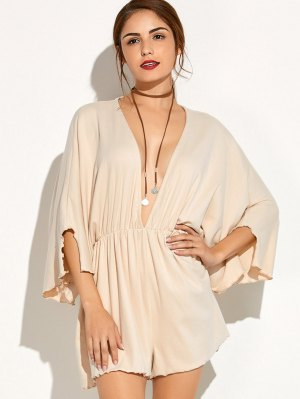 Low Cut Batwing Sleeve Romper - Beige