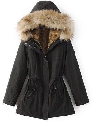Faux Fur Lined Parka Coat - Black