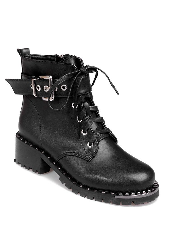 Rivets Buckle Strap Ankle Boots