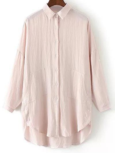 Linen Blend Buttoned Blouse