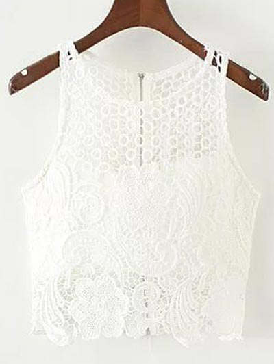 Padded Crochet Crop Top