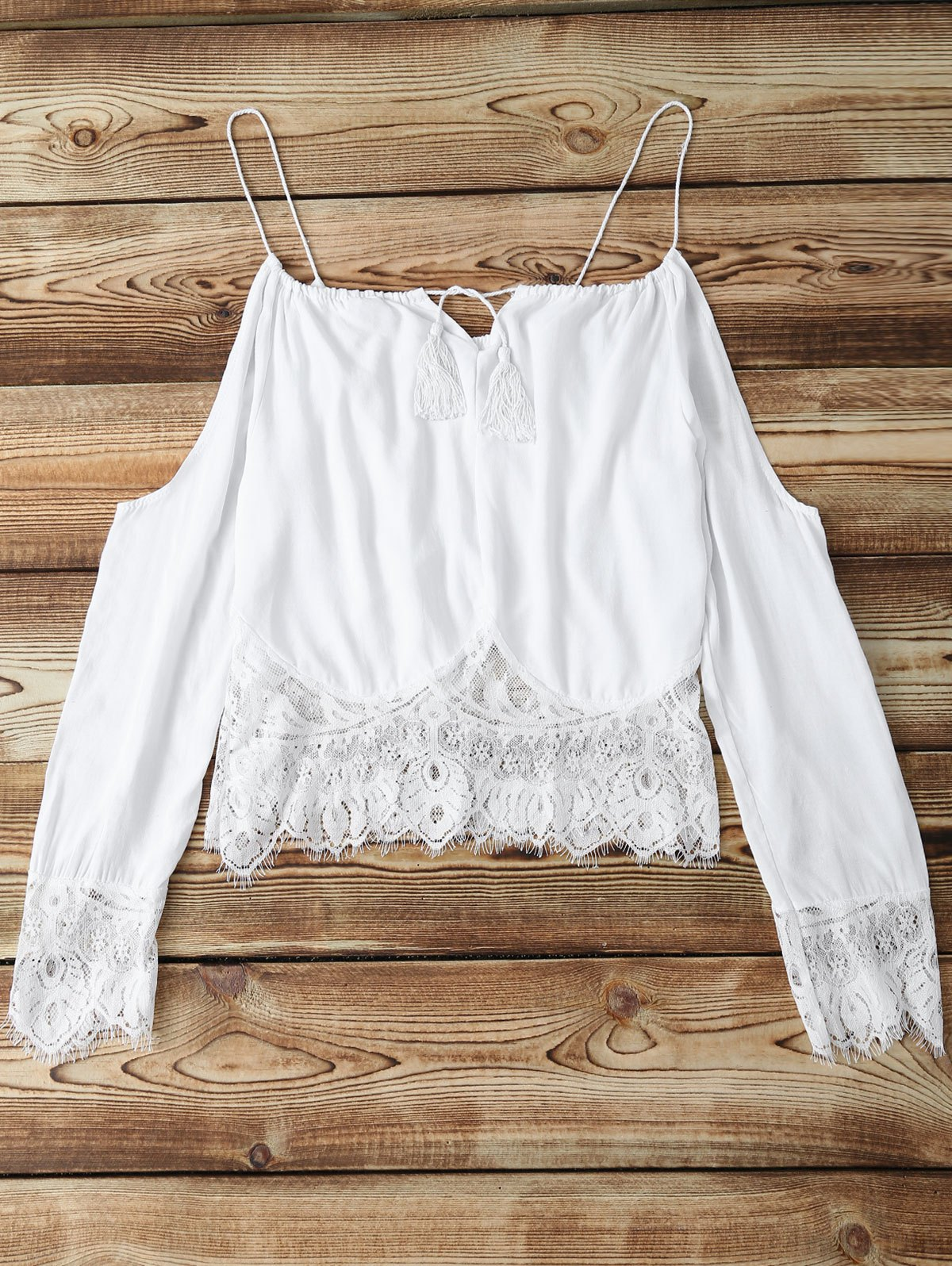 Long Sleeve Combined Lace White Crop Top