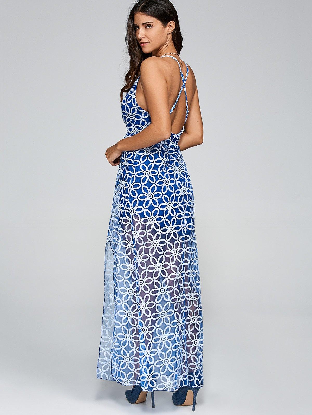 Plunging Neck Criss Back Slit Maxi DressClothes<br><br><br>Size: M<br>Color: BLUE