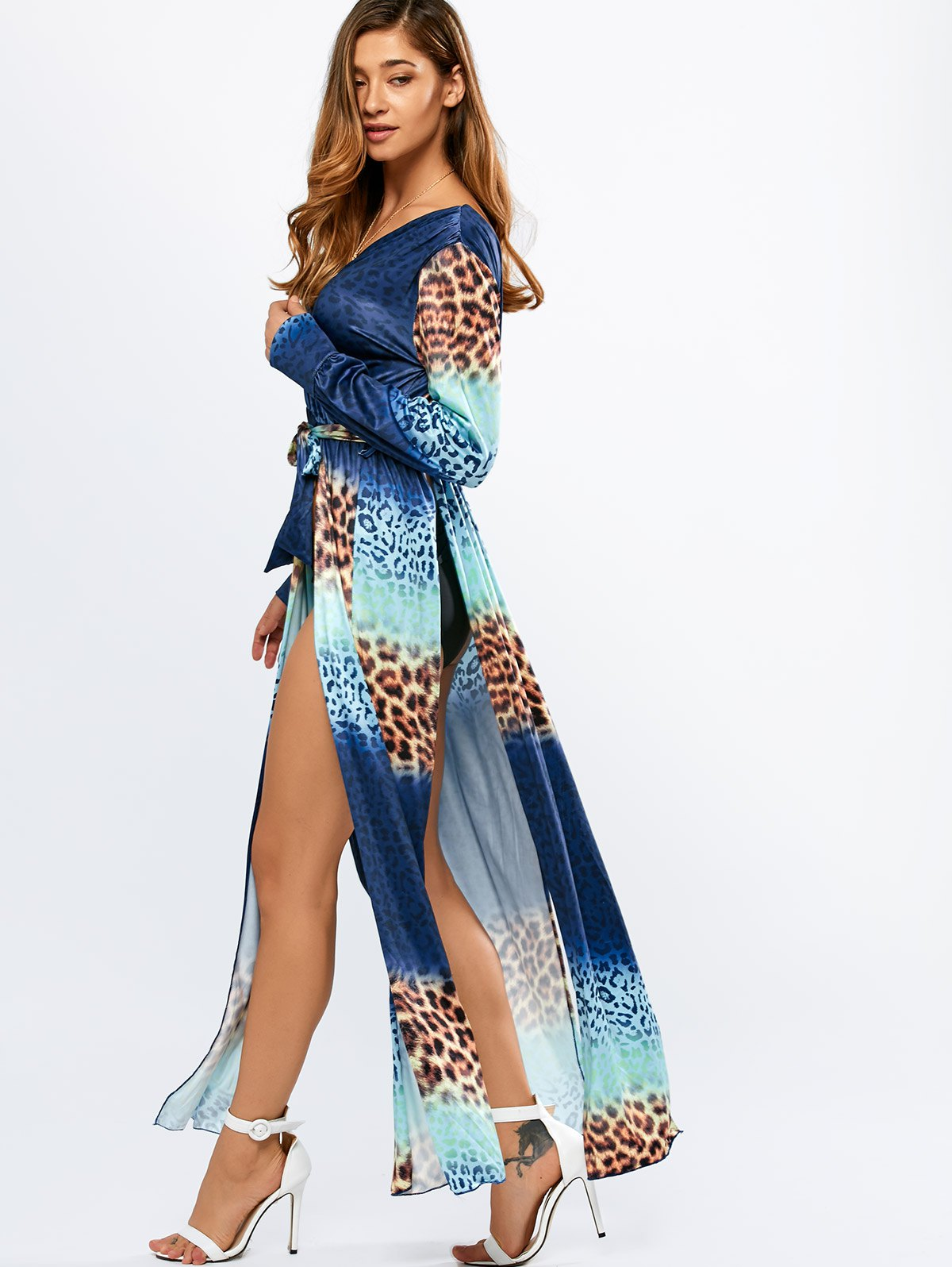 High Slit Leopard Print Ombre Maxi Dress
