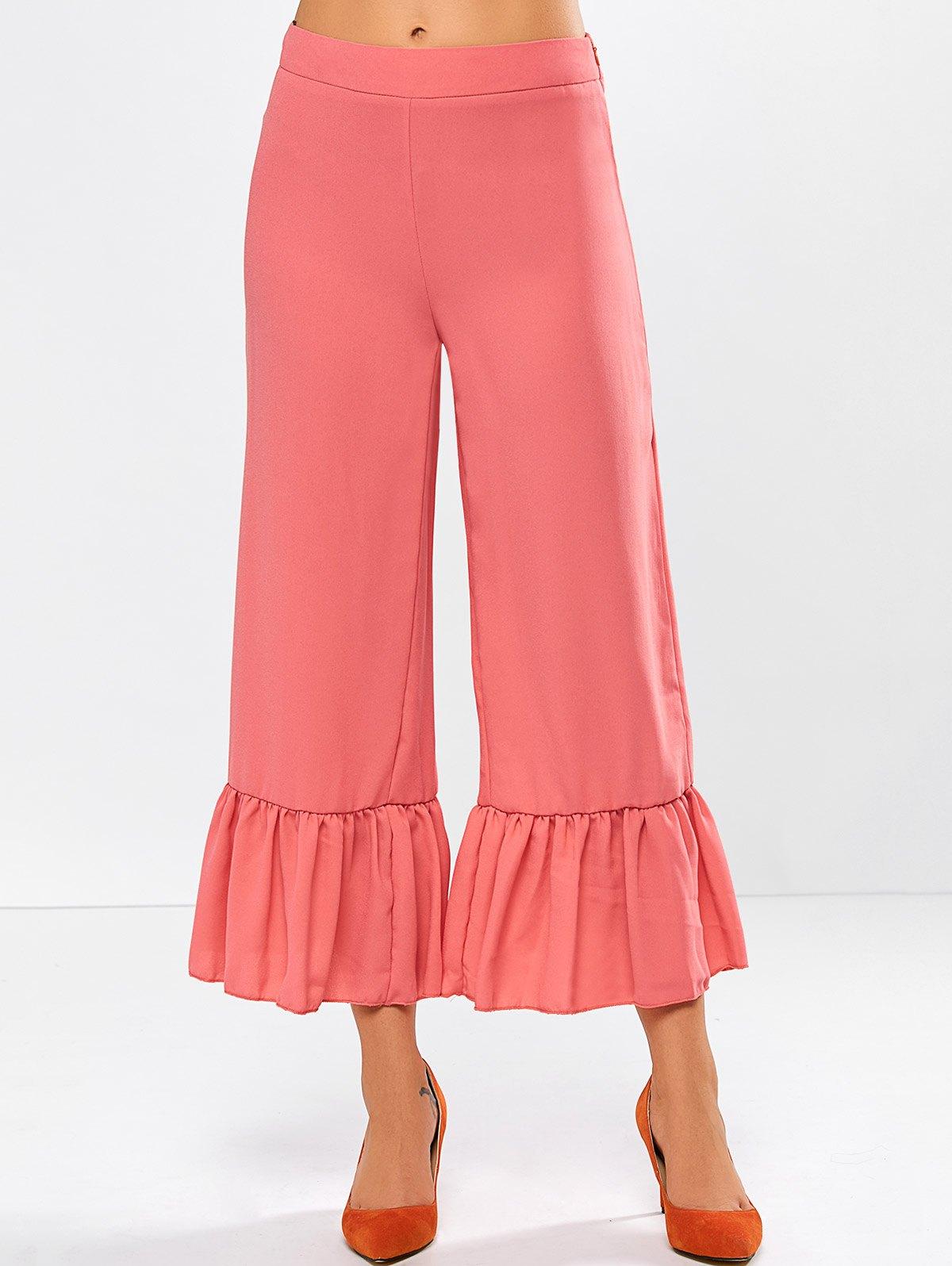Frilled High Rise Wide Leg Pants