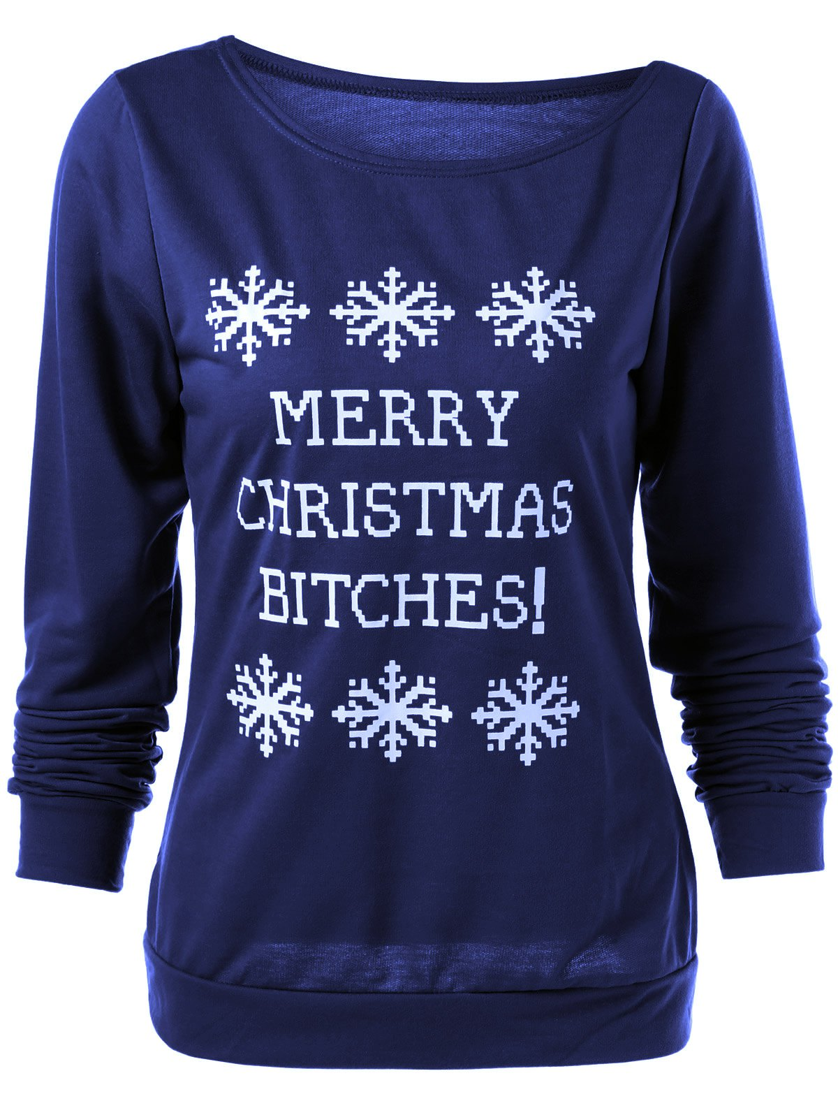 Merry Christmas Snowflake Print Sweatshirt