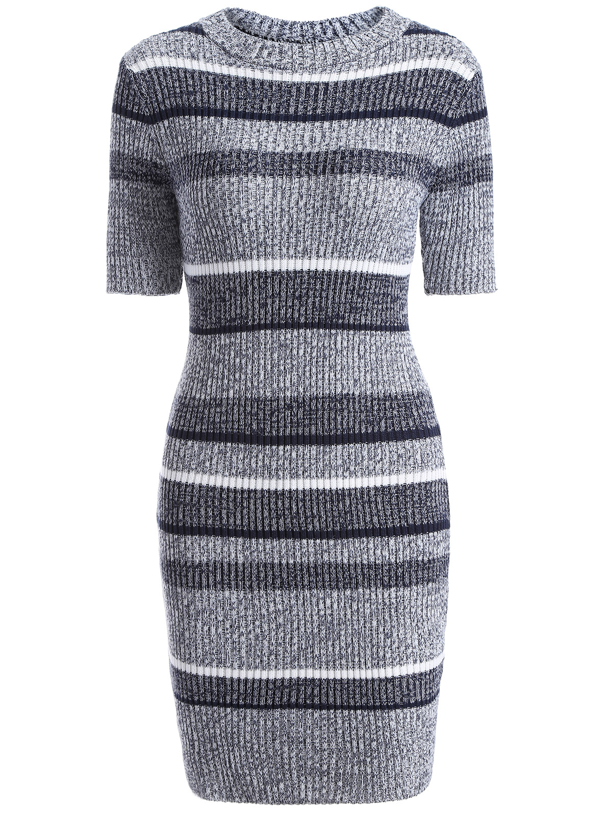 Jewel Neck Short Sleeve Striped Sweater Dress