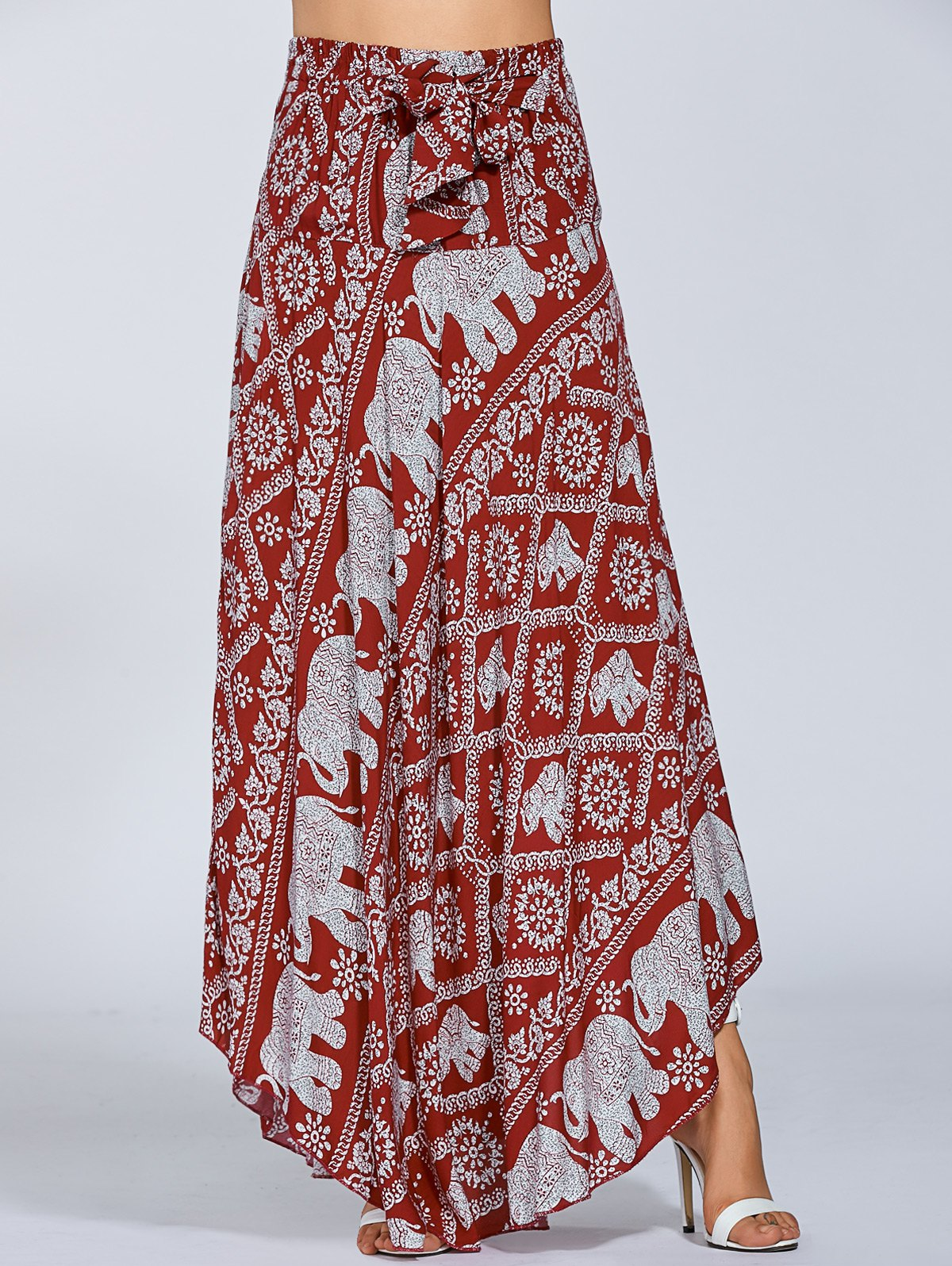 High Waisted Elephant Print Maxi Skirt
