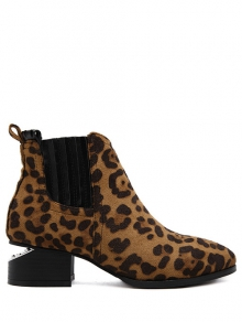 Buy Leopard Print Splicing Stitching Ankle Boots 37 LEOPARD