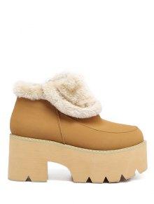 Buy Chunky Heel Zipper Platform Ankle Boots - LIGHT BROWN 37