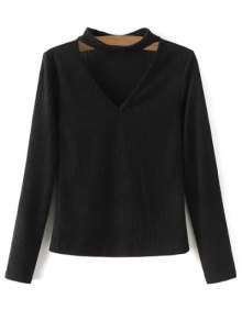 Cutout V Neck Choker Jumper
